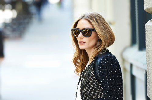 Olicia Palermo with sparkle black leather jacket