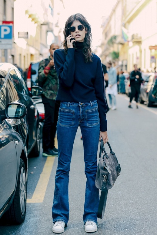 le-fashion-blog-model-off-duty-style-fashion-week-antonina-petkovic-turtleneck-sweater-flared-jeans-white-adidas-sneakers-via-vogue-paris